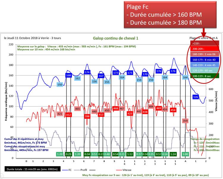 Détermination des durées cumulées dans des plages de fréquences cardiaques prédéfinies
