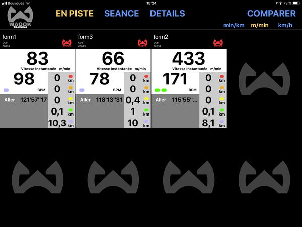 Application WAOOK écran de suivi de plusieurs chevaux