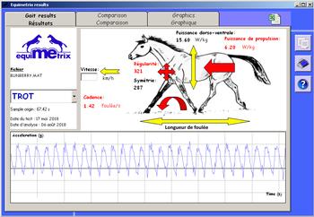 Paramètres locomoteurs mesurés par le système 3D EQUIMETRIX®. Des tables permettent d'évaluer un cheval pour une discipline donnée par rapport à une moyenne des chevaux mesurés.