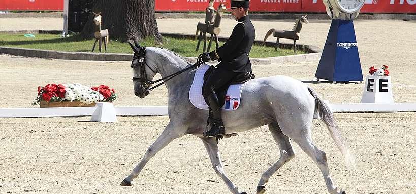Matthieu Van Landeghem et Trouble Fête dressage au championnat d'Europe de Strzegom (Pologne) ©P. Chevalier