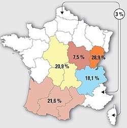 Répartition des naissances selon les régions