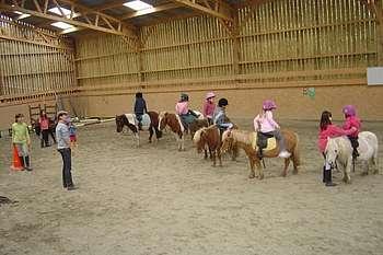 Cours poneys dans un manège